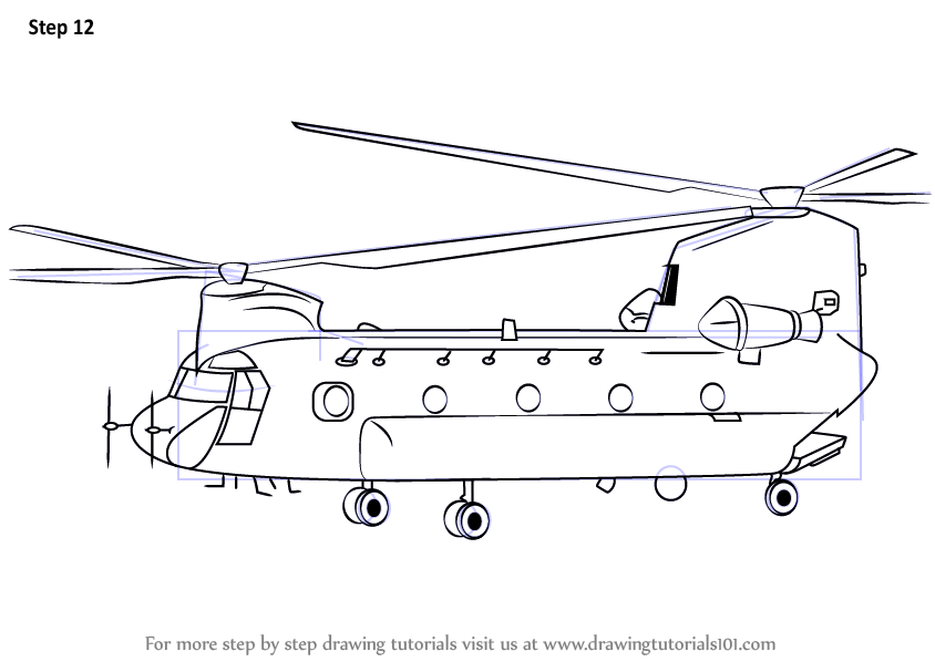 Learn How to Draw a Boeing CH-47 Chinook Helicopter ...