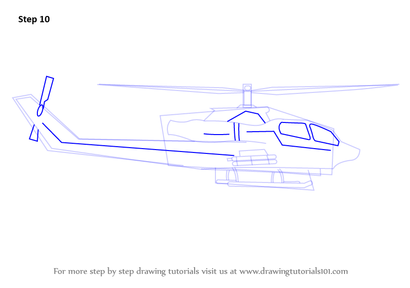 Step by Step How to Draw a Military Helicopter ...
