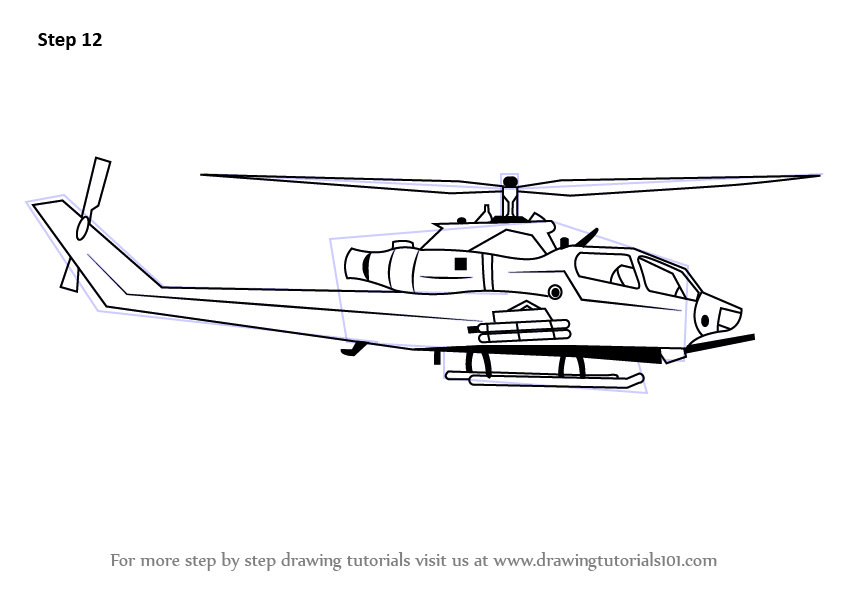 Learn How To Draw A Military Helicopter Military Step By