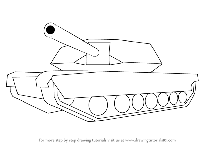 learn how to draw a simple tank  military  step by step
