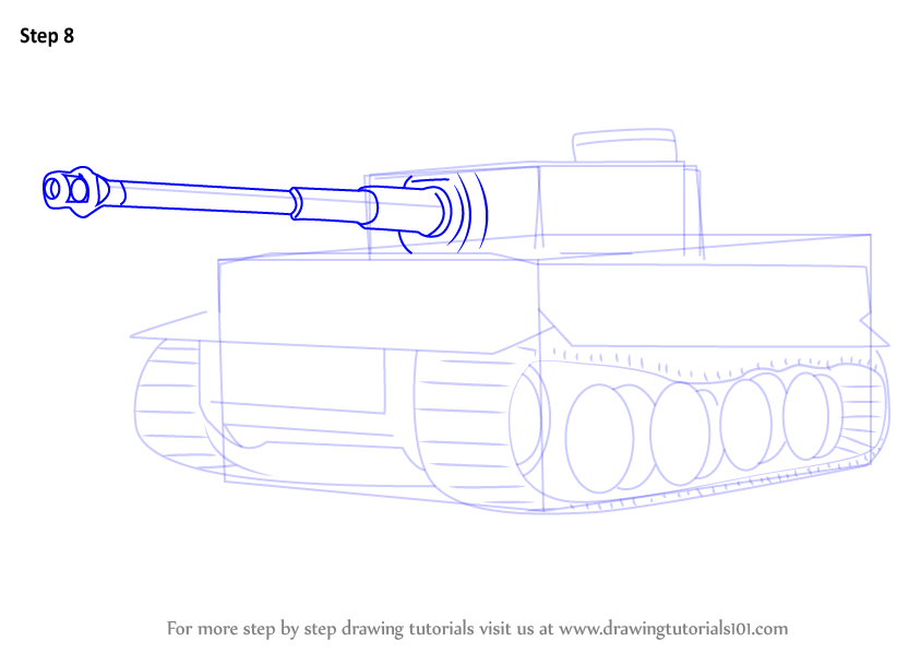 learn how to draw a tiger tank (military) step by step drawing Tiger 2 Tank Wallpaper step 9