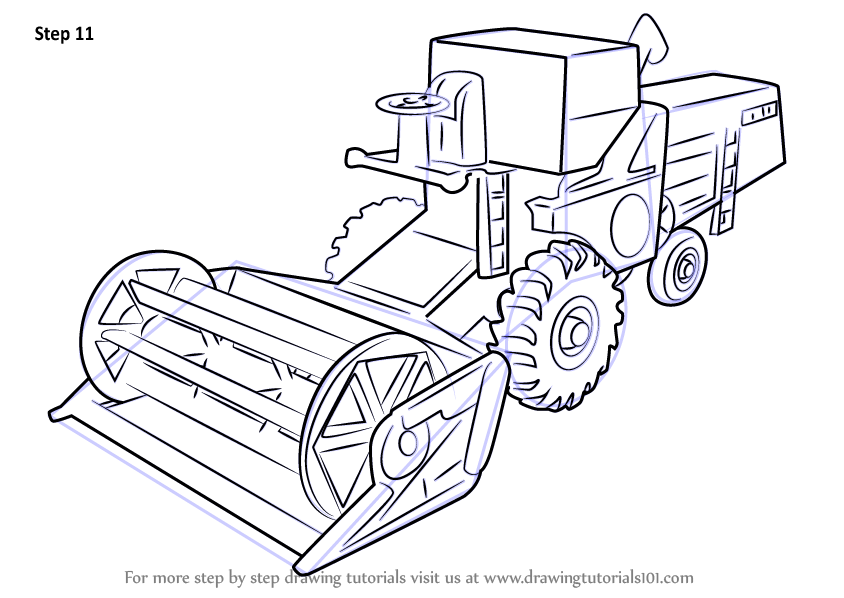 Learn How To Draw Combine Harvester Other Step By Step
