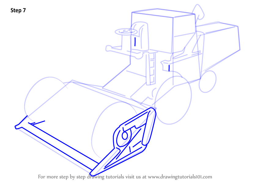 How to draw a combine harvester