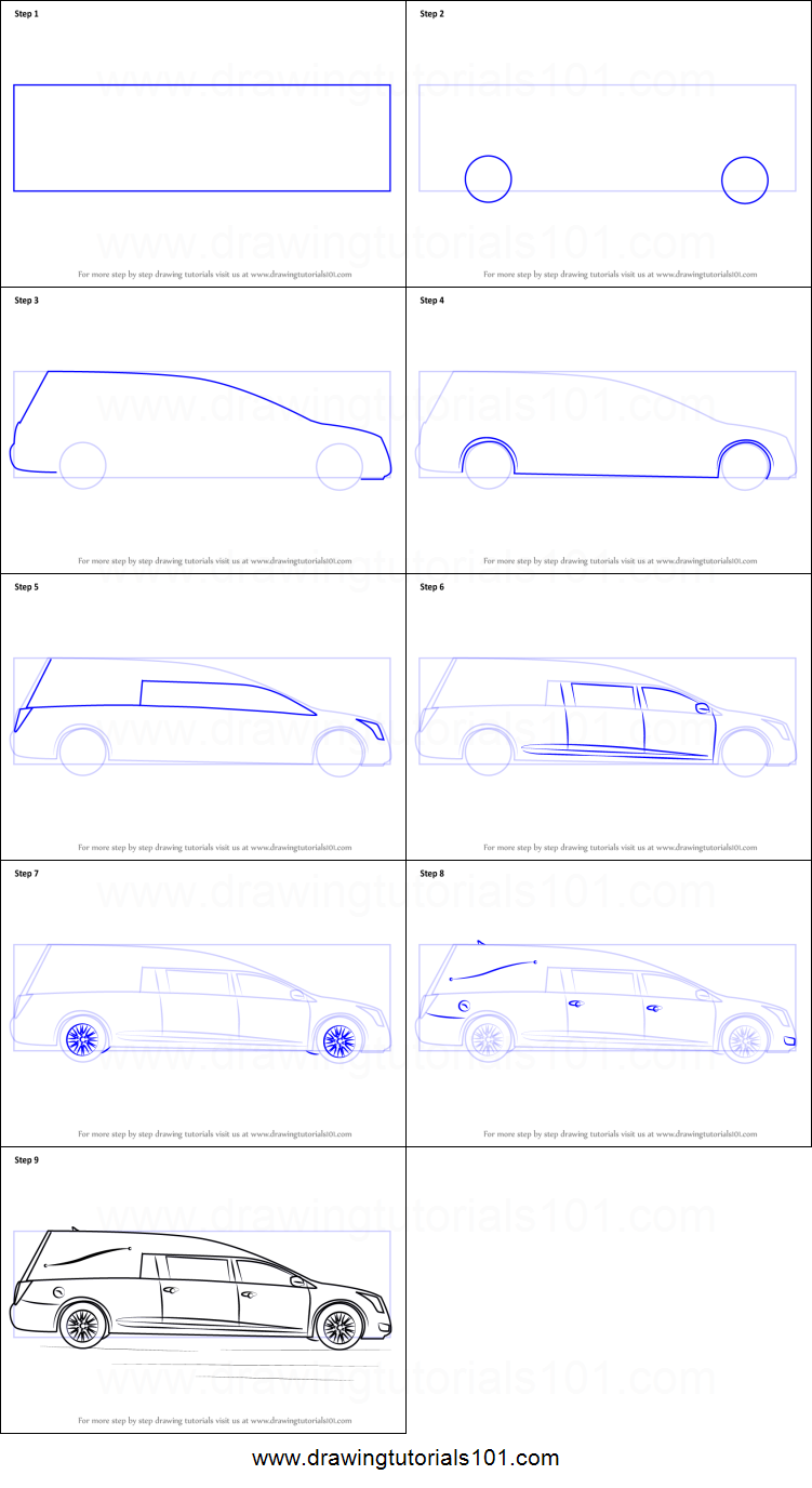 How to draw a funeral hearse printable step by step for How to make doodle art