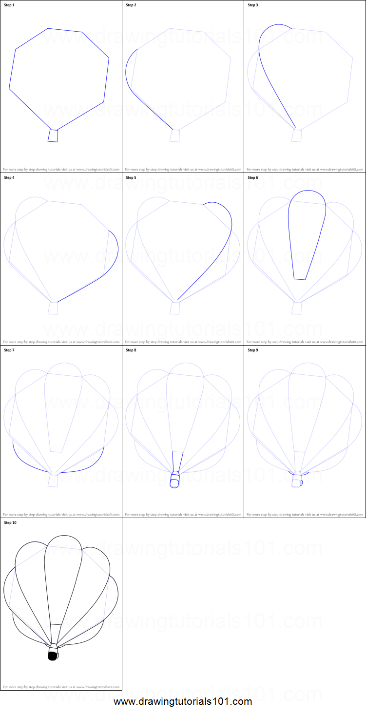 How to Draw a Hot Air Balloon printable step by step ...