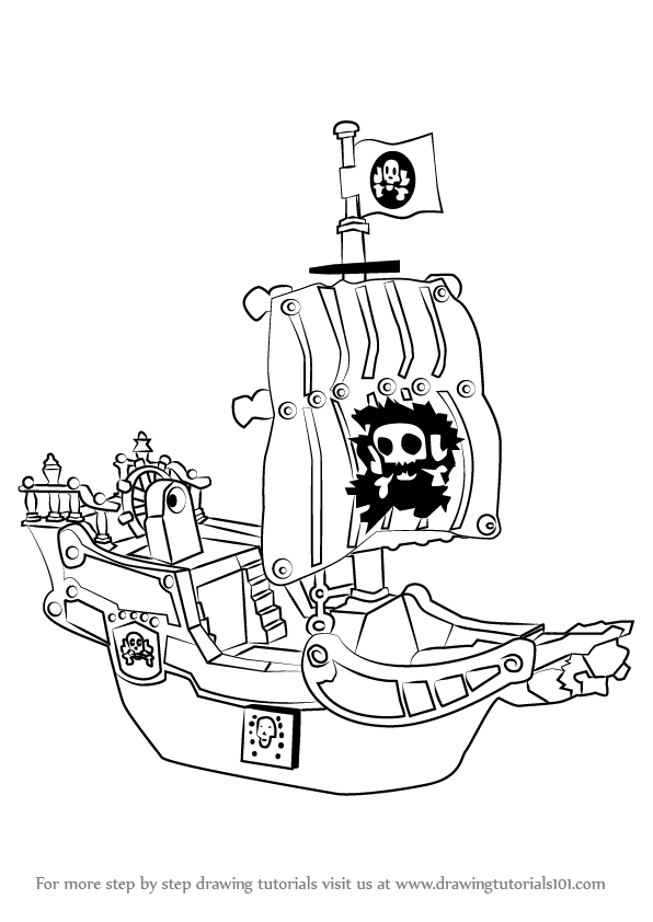 learn how to draw a pirate ship other step by step drawing tutorials