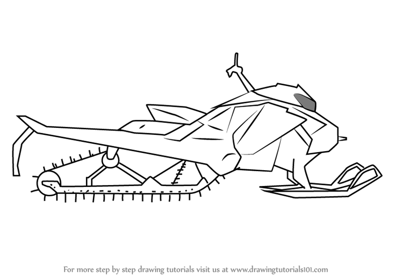 how to draw a simple snowmobile
