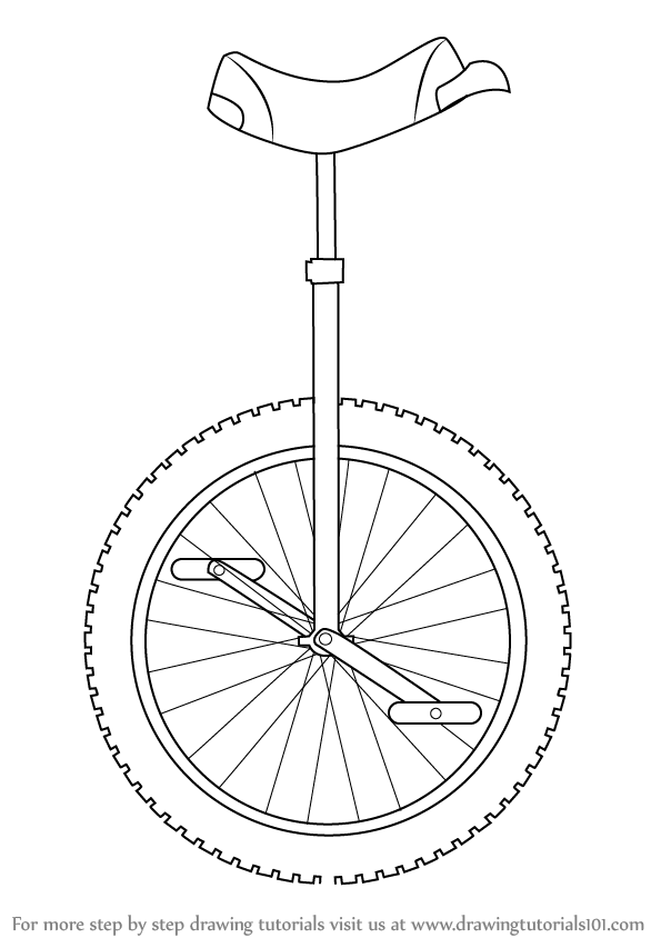 Line Art Unicycle : Learn how to draw a unicycle other step by