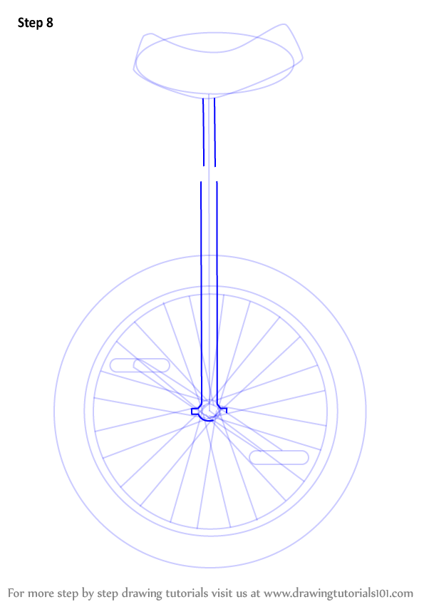 Step By Step How To Draw A Unicycle Drawingtutorials101 Com