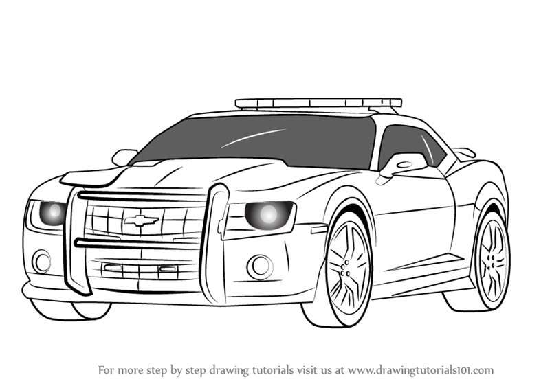 learn how to draw chevrolet camaro cop car police step by step drawing tutorials. Black Bedroom Furniture Sets. Home Design Ideas