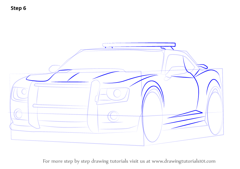 Step By Step How To Draw Chevrolet Camaro Cop Car