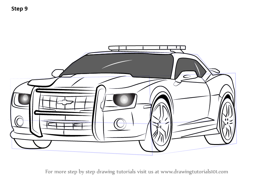 Learn How to Draw Chevrolet Camaro Cop Car Police Step