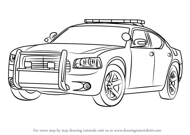 learn how to draw a dodge police car police step by step drawing tutorials. Black Bedroom Furniture Sets. Home Design Ideas