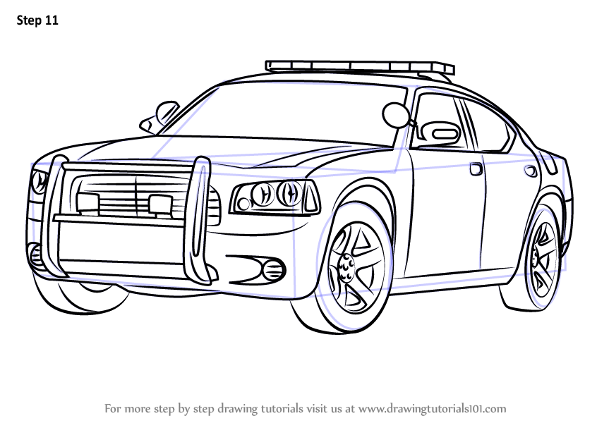 Learn How To Draw A Dodge Police Car Police Step By Step Drawing Tutorials