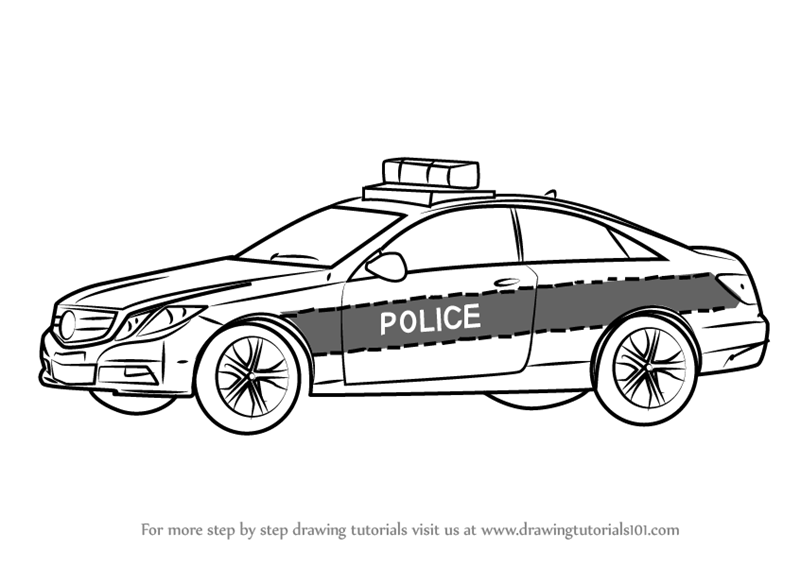 Step By Step How To Draw A Mercedes Police Car Drawingtutorials101 Com