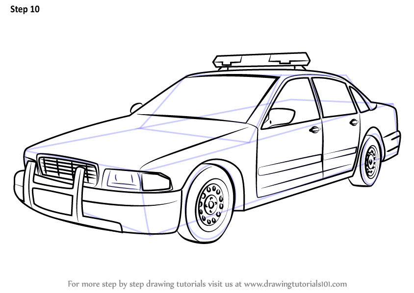 Learn How to Draw a Police Car (Police) Step by Step : Drawing ...