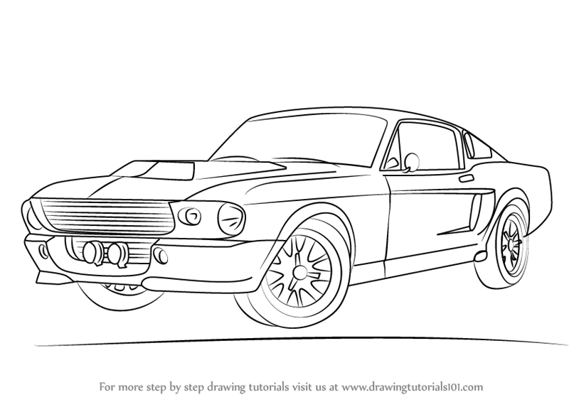 learn how to draw a 1968 mustang  sports cars  step by