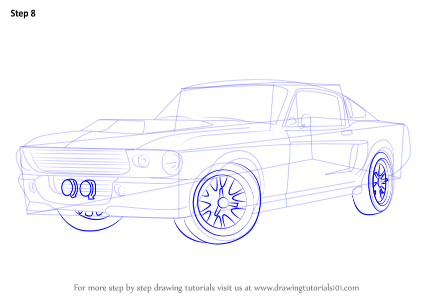 Learn How to Draw a 1968 Mustang (Sports Cars) Step by ...