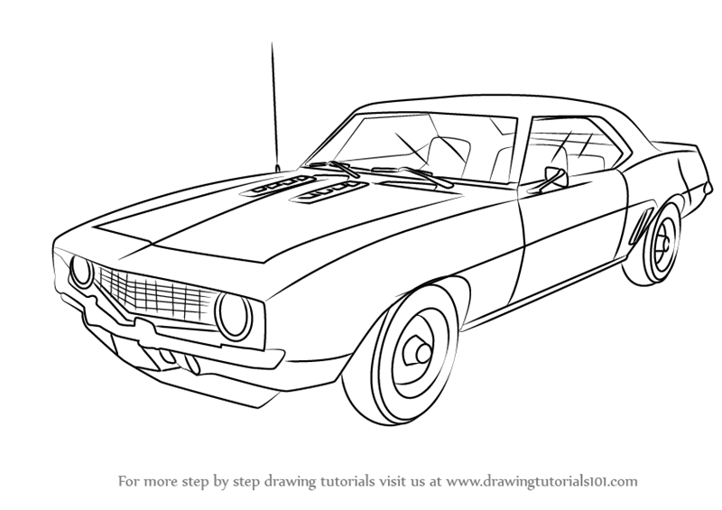 learn how to draw a 1969 camaro  sports cars  step by step