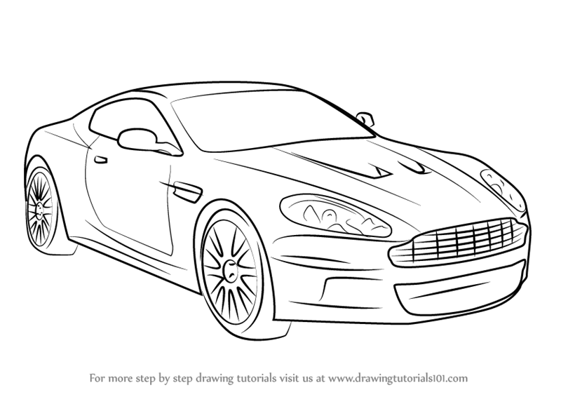 learn how to draw aston martin db9  sports cars  step by