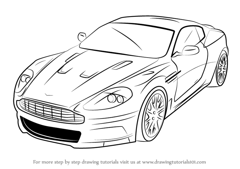 learn how to draw aston martin dbs sports cars step by step drawing tutorials - Sport Cars Drawings