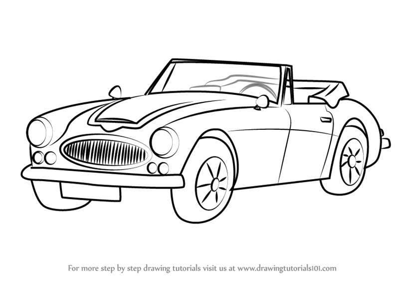Learn How To Draw Austin Healey 3000 MK III (Sports Cars) Step By Step :  Drawing Tutorials