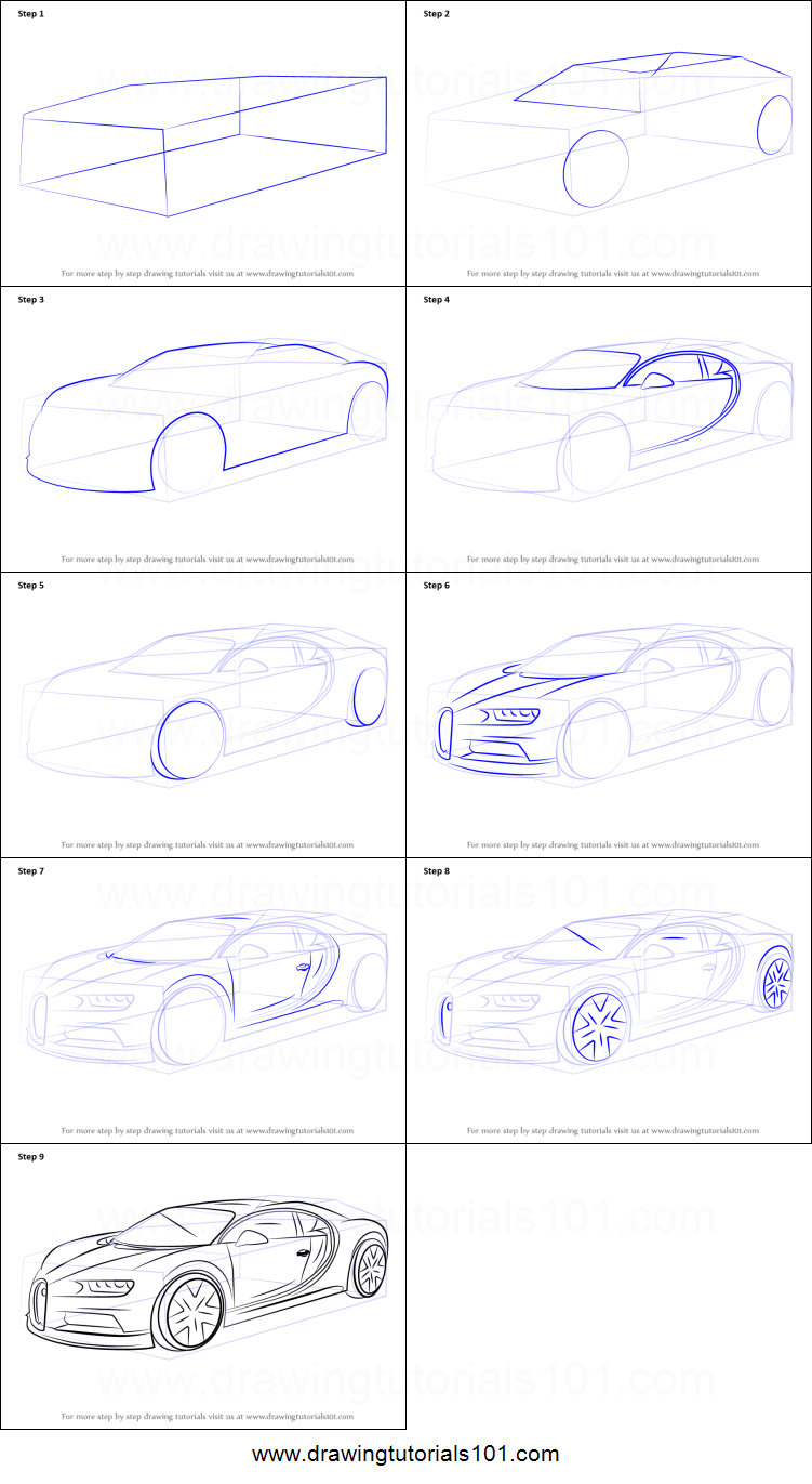 How To Draw A Bugatti Chiron >> How to Draw Bugatti Chiron printable step by step drawing sheet : DrawingTutorials101.com