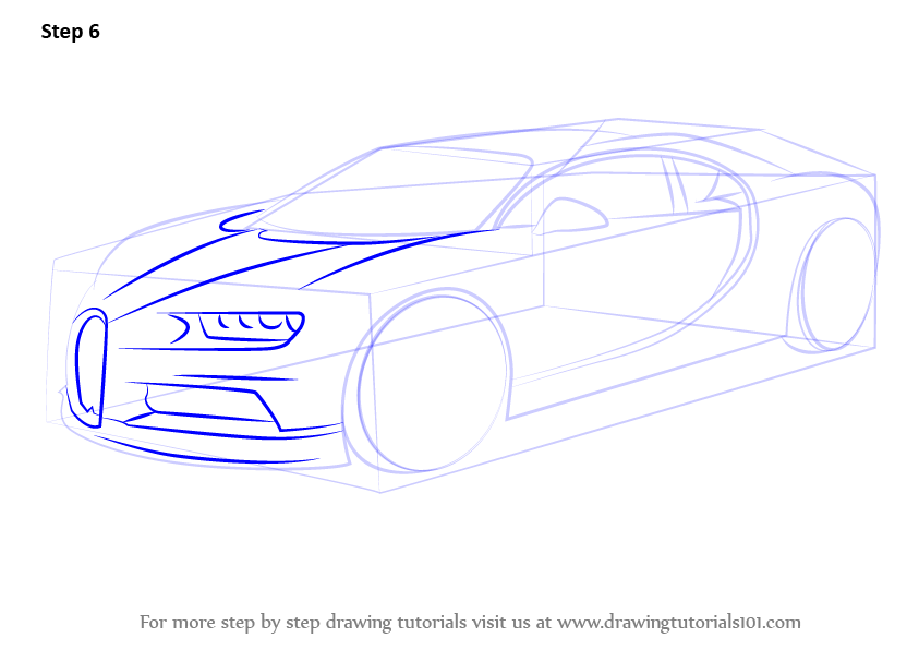Learn How to Draw Bugatti Chiron Sports Cars Step by Step