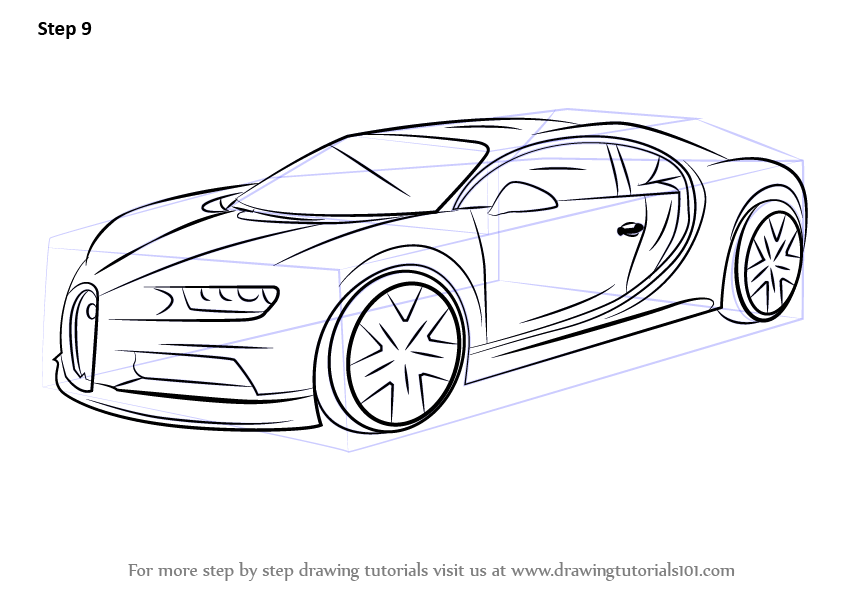 Learn How To Draw Bugatti Chiron Sports Cars Step By