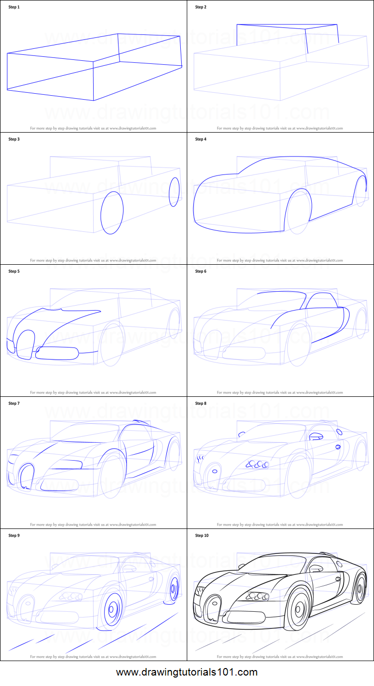 How To Draw Bugatti Veyron Printable Step By Step Drawing Sheet