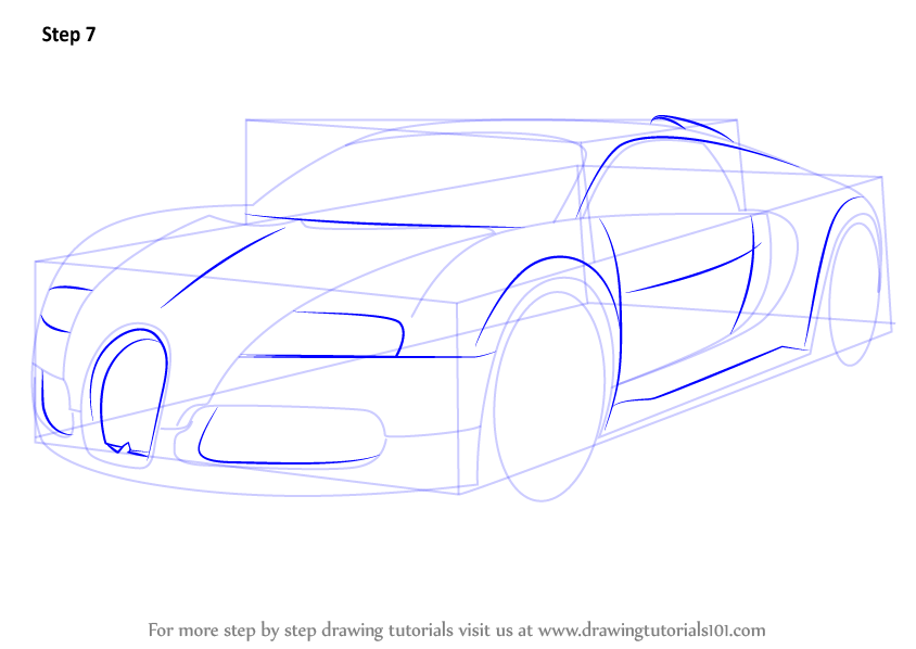 Learn How To Draw Bugatti Veyron Sports Cars Step By Step