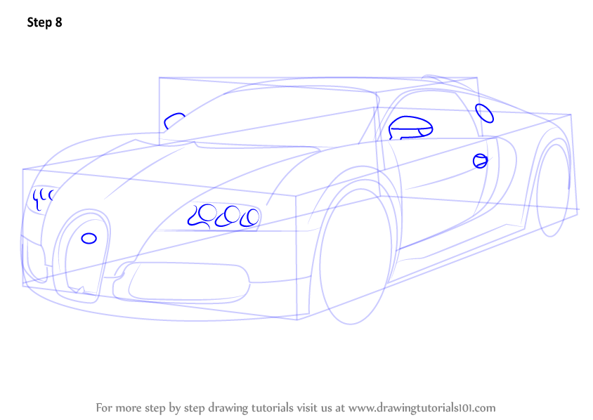 how to draw bugatti chiron step by step