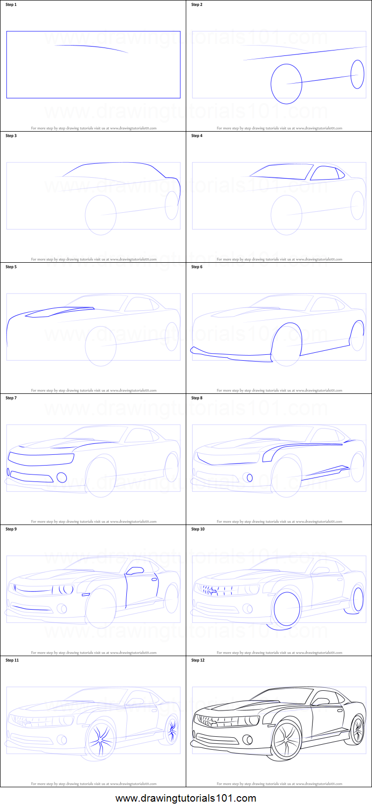 Pictures of How To Draw A Chevy Camaro Step By Step - #rock-cafe