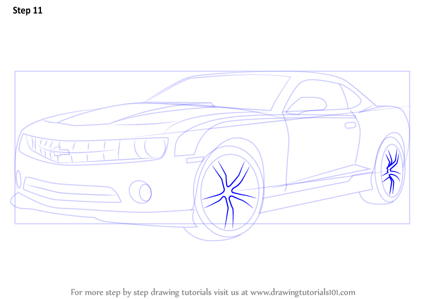 Learn How To Draw A Chevrolet Camaro Sports Cars Step By