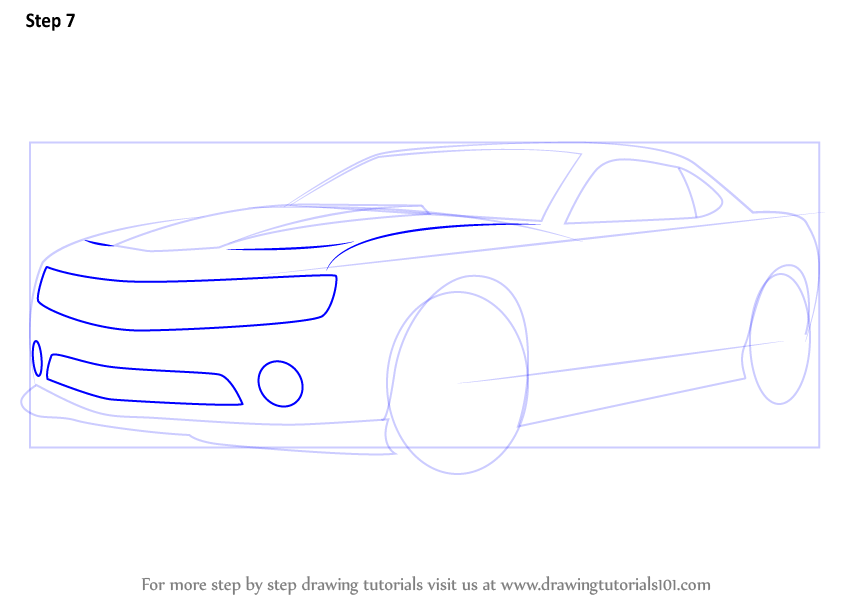 learn   draw  chevrolet camaro sports cars step  step drawing tutorials