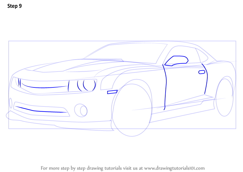 Learn How To Draw A Chevrolet Camaro Sports Cars Step By Step Drawing Tutorials