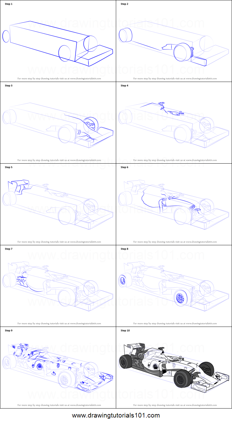 step by step drawing tutorial on how to draw f1 car