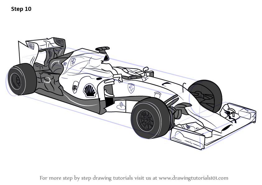 Learn How To Draw F1 Car Sports Cars Step By Step Drawing Tutorials