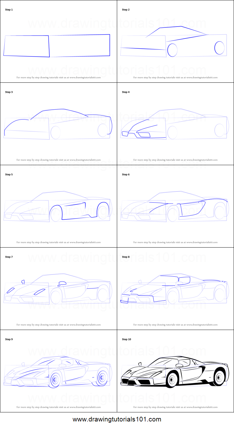 how to draw a ferrari enzo printable stepstep drawing sheet