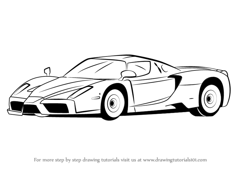 Learn How to Draw a Ferrari Enzo (Sports Cars) Step by ...