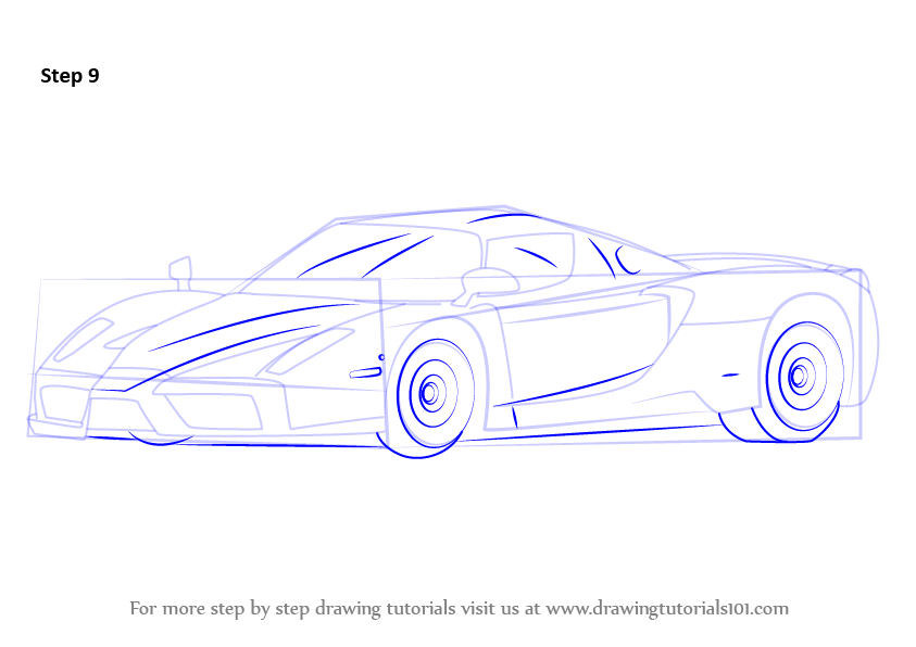 Learn How To Draw A Ferrari Enzo Sports Cars Step By Step Drawing Tutorials