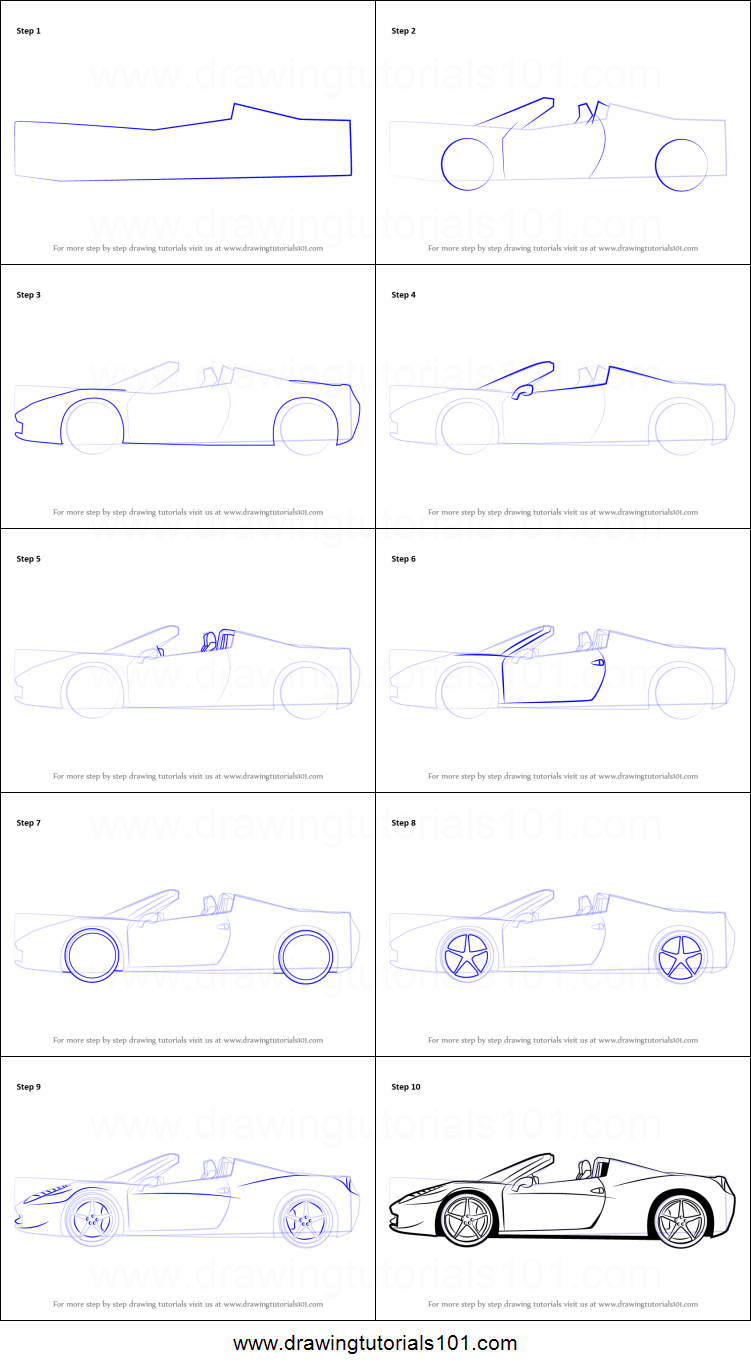 how to draw a ferrari printable stepstep drawing sheet