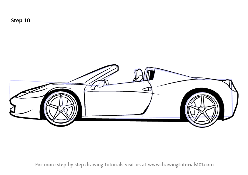 Learn How To Draw A Ferrari Sports Cars Step By Drawing Tutorials