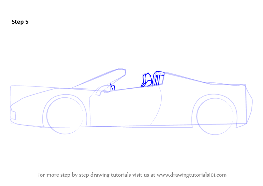 how to draw a ferrari f430 step by step