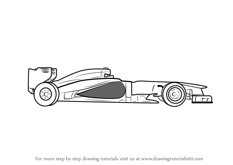 Learn How To Draw Formula One Car (Sports Cars) Step By Step : Drawing  Tutorials