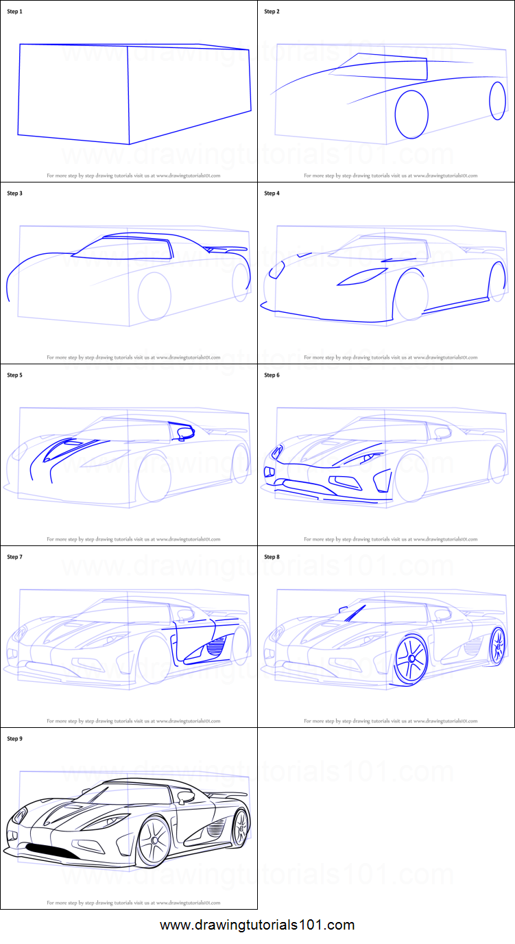 How to Draw Koenigsegg Agera R printable step by step