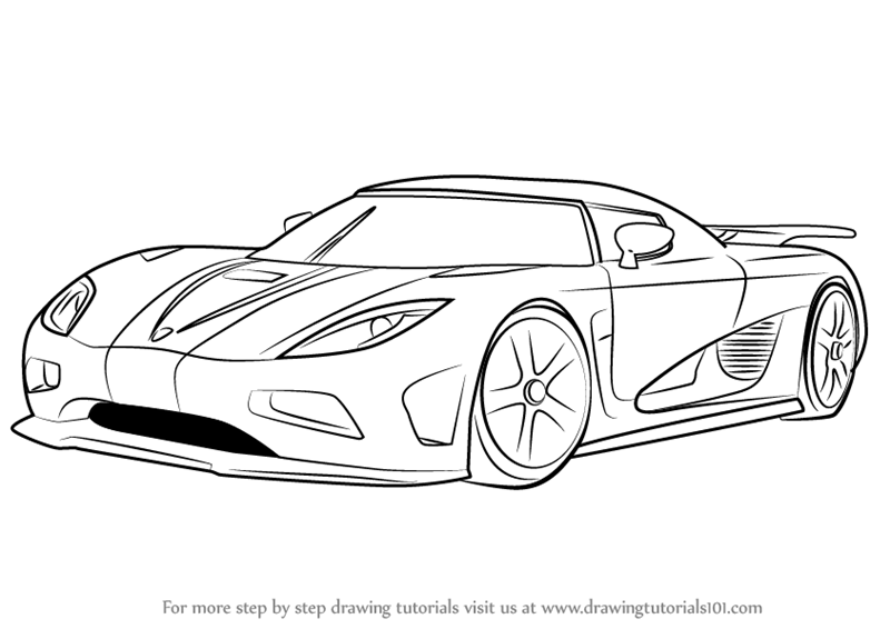 Learn How To Draw Koenigsegg Agera R Sports Cars Step By Koenigsegg Agera R Coloring Pages
