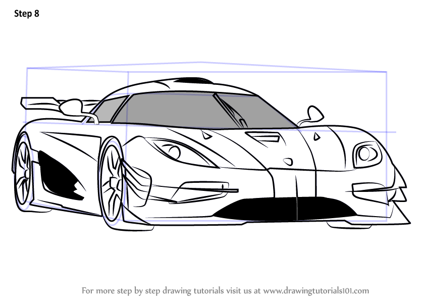 Step by Step How to Draw Koenigsegg