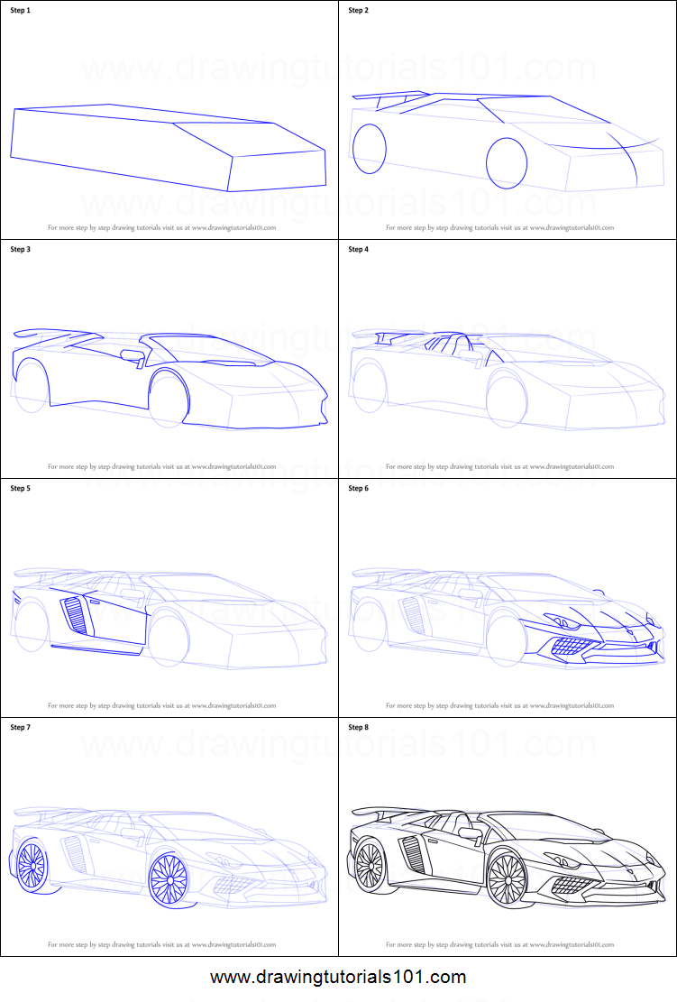 How To Draw Lamborghini Aventador Lp750 4 Sv Roadster Printable Step By Step Drawing Sheet Drawingtutorials101 Com