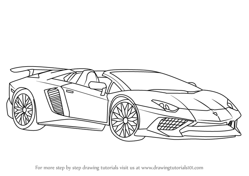 Step By Step How To Draw Lamborghini Aventador Lp750 4 Sv Roadster